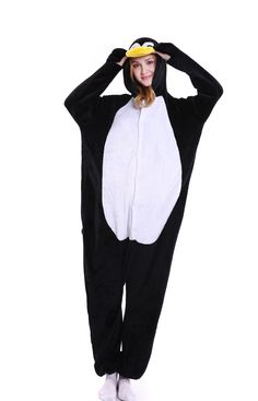e694c44b4e kigurumi black white Penguin onesies animal pajamas for adults