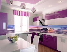 secrets about purple kitchen cabinets 2019 and purple kitchen accessories. We will also tell you about the trends purple kitchen ideas and its combination such as purple and white kitchen decor. Purple Kitchen Walls, Purple Kitchen Designs, Kitchen Wall Design, Kitchen Colors, Kitchen Ideas, Kitchen Grey, Kitchen Pictures, Kitchen Paint, Purple Rooms