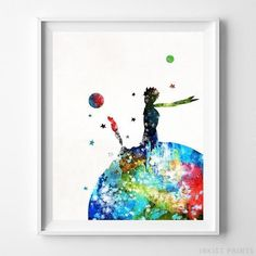 Little Prince, The Little Prince Watercolor Wall Decor. Prices from $9.95. Available at InkistPrints.com - #wallart #watercolor #walldecor #babyroom #nursery #TheLittlePrince