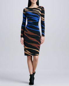 Multi-Print Long-Sleeve Jersey Dress by David Meister