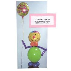 """Clowning Around. This fun arrangement can include an 18"""" mylar balloon from the clown's hand. Balloon can be substituted with any 18"""" mylar in our selection. This price is for in store pickup only. To arrange delivery within the Niagara Region, please call us (905)374-2641 or toll free 1-866-216-8930."""