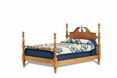 Hardwood Cannonball Poster Bed from DutchCrafters Amish Furniture. Traditional style bed with cannonball turned posts and footboard rail. Intricately carved headboard. Made to order in America in your choice of wood type, finish, and size. #fourposterbed #masterbedroom #traditional