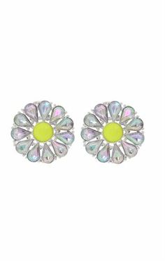 Deb Shops Circle Shaped Earring with Stone Center $5