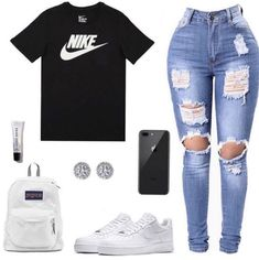 Nike Outfit 🤩 ~~~~~~~~~~~~~~~~~~~~ If viewing f/ Cute Lazy Outfits, Swag Outfits For Girls, Cute Swag Outfits, Teenage Girl Outfits, Girls Fashion Clothes, Teen Fashion Outfits, Dope Outfits, Girly Outfits, Pretty Outfits