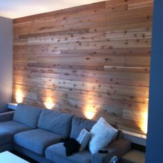 Wood wall DIY project...love the lighting too!