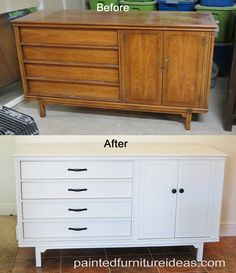 Mid Century Modern Painted White Buffet / Sideboard / Credenza ...