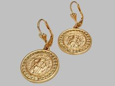 de91f34ef Cz Coin Earrings 18k of Gold Plated – Raf Rossi Gold Plated Dangle Earrings,  Gold