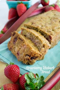 A spiced and tangy Healthy Strawberry Rhubarb Bread recipe. Whole wheat and not too sweet, this bread makes a great breakfast or afternoon snack!  (recipe created in partnership with @almondbreeze )
