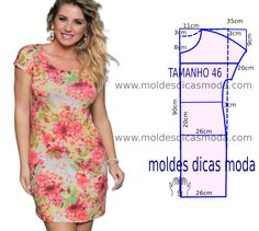 Vestido casual florido simples - Moldes Moda por Medida