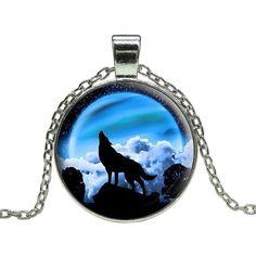 Full Moon Wolf Howl Pendant