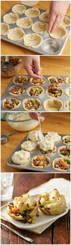 ADORABLE --> Mini Shepherd's Pot Pies #comfort #cupcakepan #appetizer