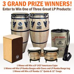 """3 Grand Prize Winners!! We are giving away an LP Americana Cajon, LP Rumba Bongos with bag and Claves and LP Rumba 11"""" and 12"""" Congas . For more details and to enter click here #win #drum #conga #percussion #LP"""