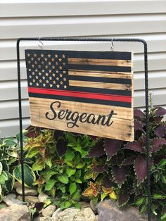 Firefighter Decor / Firefighter Gift / Thin Red Line / Thin Red Line Flag / Garden Flag / Garden Decor / Thin Red Line Wooden Flag Diy Arts And Crafts, Wood Crafts, Diy Crafts, Firefighter Crafts, Firefighter Family, Diy Signs, Wood Signs, Fire Department, Fire Dept