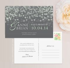 Champagne Bubbles Personalized Wedding Save the Date Postcard / Magnet / Flat Card - CUSTOMIZE Colors and Content