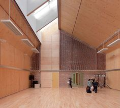 sandal magna community school. sarah wigglesworth architects. beautiful brick, plywood and timber details.