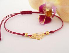 Flechtarmbänder - 24K Gold Vermeil, Schmetterlingsschnur Armband - ein Designerstück von Mona-Design bei DaWanda