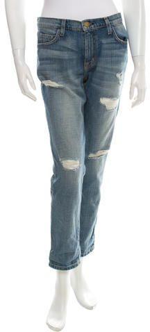Current/Elliott Straight-Leg Distressed Jeans w/ Tags Distressed Jeans, Denim Shorts, Legs, Stylish, Pants, Women, Fashion, Ripped Denim Jeans, Trouser Pants