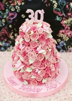 We were delighted to create a special edition design based on our Multi Chocolate rose cake for the gorgeous Holly Willoughby on her B. 30th Birthday Cake For Her, Birthday Cakes For Women, 30th Cake, 22nd Birthday, Birthday Treats, Birthday Wishes, Happy Birthday, Pretty Cakes, Beautiful Cakes