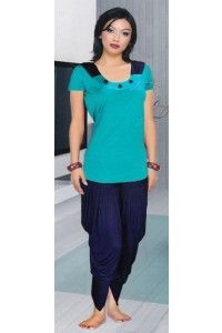 This is blue stylish dhoti nightsuit perfectly suit on bed and on tracks