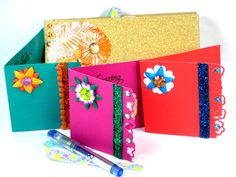 Gift Boxed NOTECARDS Hand Crafted with Gold Glitter cardstock & Floral Embellishments on Note Cards by Chris of  PaperMagicFantastic, $25.00