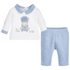 Outfit sets make dressing little ones a breeze. This two piece off-white top and pale blue trousers set by Mayoral, crafted from thick, soft cotton, will keep your baby boy cosy and warm too. Simple to pull on, this little set is sure to become a wardrobe favourite.