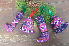 Purple Hmong Christmas Ornaments Set Of 4 Gift Boxed by SiameseDreamDesign