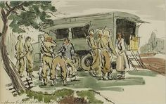 Red Cross Clubmobile; World War II scene in Normandy, France; signed at bottom left by Henry Jay MacMillan http://library.uncw.edu/capefearww2/veWebArt/exhibit1/e10013b.htm
