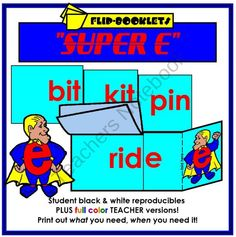 Super E Flip Booklets (Changing short vowels to long) from Mister Kindergarten on TeachersNotebook.com (23 pages)  - Each flip booklet contains seven words that magically change with the addition of a silent e at the end.