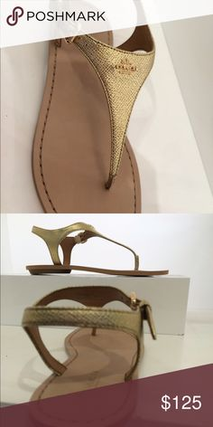 NWT Coach sandals Nwt Coach Cheyanne sandals in Gold. Ships quickly Coach Shoes Sandals