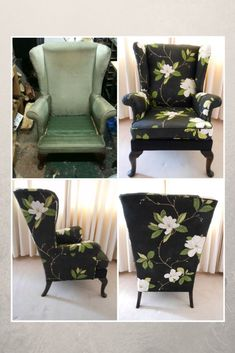 Parker Knoll wing chair re-upholstered in Sanderson Sweet Bay fabric.