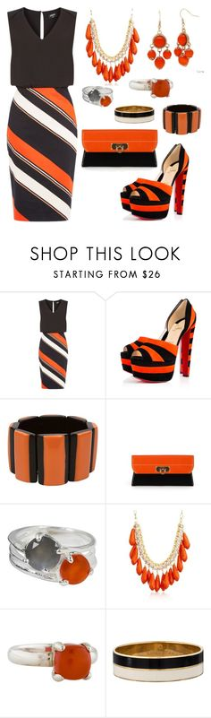 """""""Black, Orange, & White"""" by donnalynnginn ❤ liked on Polyvore featuring Oasis, Stefanel, Salvatore Ferragamo, NOVICA, Ross-Simons, Tiffany & Co., Kate Spade and Alexa Starr"""