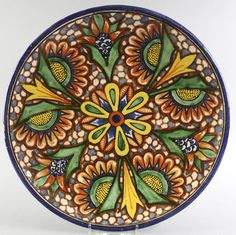 Estate Vintage Talavera Mexico Hand Painted Pottery Plate Sunflowers 9 Inch | eBay