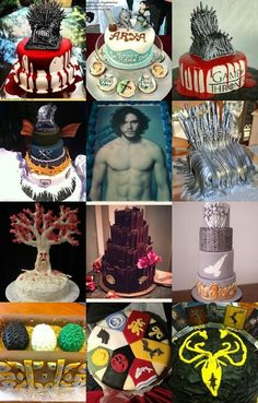 Game of Thrones cakes. Totally making the naked Kit Harrington one for my friend who is in love w him.