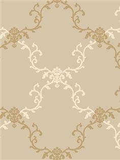 Tres Chic Wallpaper l American Blinds.com l Gold and Cream Floral Vines