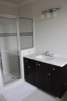 Interior Design, Adorable Traditional Bathroom Also Dark Brown Vanity Color  With White Cultured Marble Countertops And Contemporary Faucet And Mixer  Tap ...