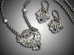 Contemporary Jewelry Design by Holly Gage Peruvian Appliqué, fine silver and sapphires and pearls