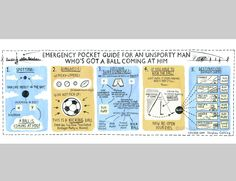 Emergency pocket guide for an unsporty man who's got a ball coming at him (by Stephen Collins). Stephen Collins, Newspaper Cartoons, Pocket, Illustration, Illustrations, Bag