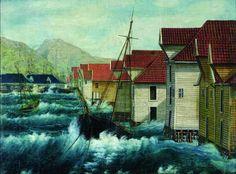 «Stormen på Bergens våg». (Oljemaleri av F. Søvig, 1854)