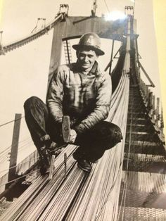 Iron worker during construction phase of new Walt Whitman Bridge linking Camden, NJ to South Philly - 1956
