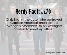 "Nerdy Fact #170  Chris Evans (Captain America) - ""Avengers, assemble!"" - visit to grab an unforgettable cool 3D Super Hero T-Shirt!"