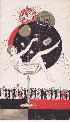 Inspiration: Art Deco New Year postcard, Vintage Greeting Cards, Vintage Christmas Cards, Vintage Holiday, Christmas Toys, Art Deco Posters, Vintage Posters, Art Nouveau, New Year Postcard, Inspiration Art