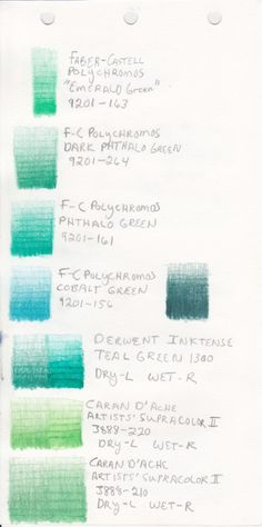 A swatch of green colored pencils