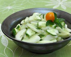 Cucumber Salad with Lime & Fresh Mint ♥ AVeggieVenture.com. Low Carb. WW1.