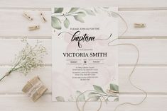 pink watercolor with greenery baptism invitation template Baptism Invitations Girl, Pink Watercolor, Pink Girl, Greenery, My Design, My Etsy Shop, Reception, Place Card Holders, Templates
