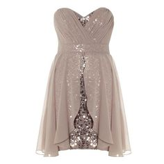 Lipsy Bandeau Layer Sequin Dress ($37) ❤ liked on Polyvore featuring dresses, vestidos, short dresses, robes, daydream, chiffon high-low dresses, chiffon dresses, sequin mini dress, hi low dress and chiffon overlay dress