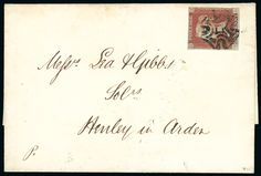 1841 1d. red-brown OL with small to large margins all round, used on 1842 (May 24th) cover from Oxford to Henley in Arden, cancelled by distinctive Oxford Maltese Cross. Ex Phillip Robinson. (illustrated in Rockoff and Jackson).