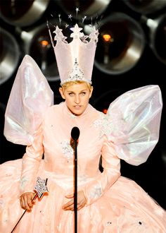 Host Ellen DeGeneres speaks onstage during 86th Annual Academy Awards