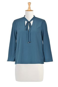 Tie Neck Crepe Cutout Blouses, Polyamide Stretch Crepe Tops , banded collar tops, blue tops, bracelet length sleeve tops, crepe tops, cutout blouses, French blue tops, Hand wash tops, Hip Length Tops, light-weight tops, Polyamide/spandex tops, split neck tops, stretch tops, tie neck tops, Tops, woven crepe tops