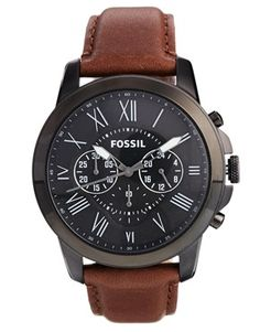 Fossil Grant Brown Leather Strap Chronograph Watch FS4885