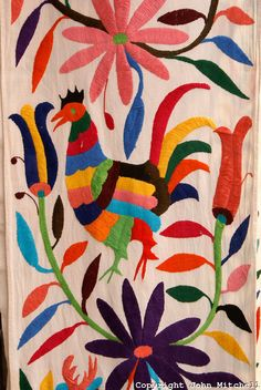 Hand embroidered mexican otomi tenango fabric folk art for Mexican arts and crafts for sale